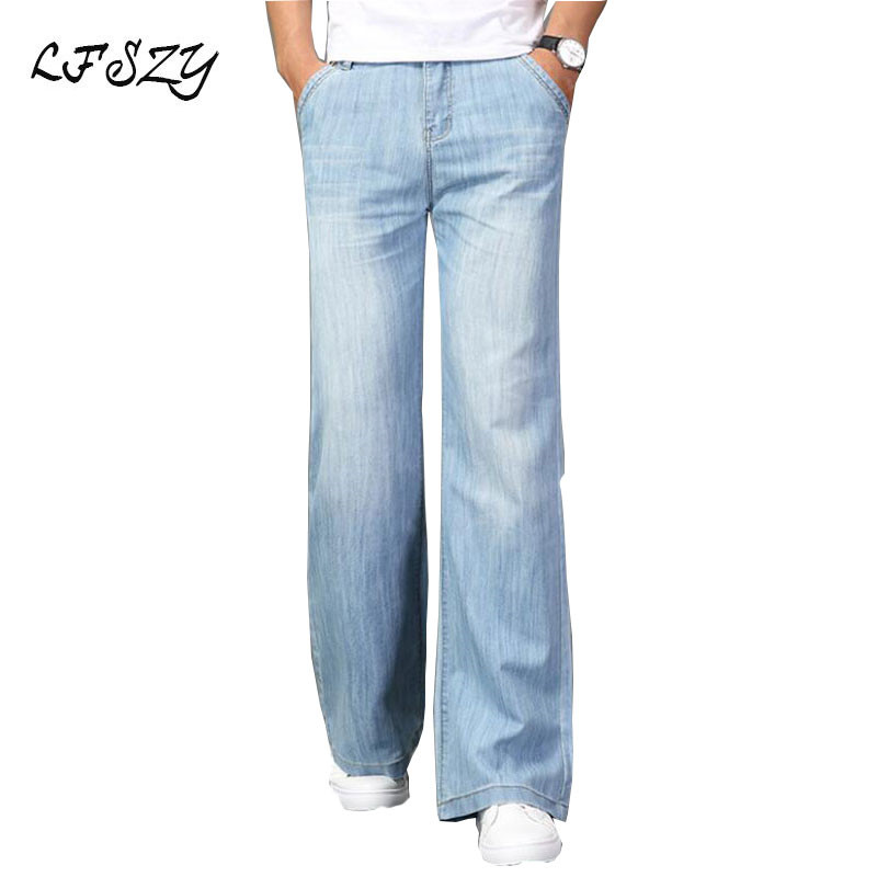 2019 Spring And Summer Men's New Micro-horn Jeans Men's Stretch Slim Light Blue Denim Horn Big Pants More Size 26-35