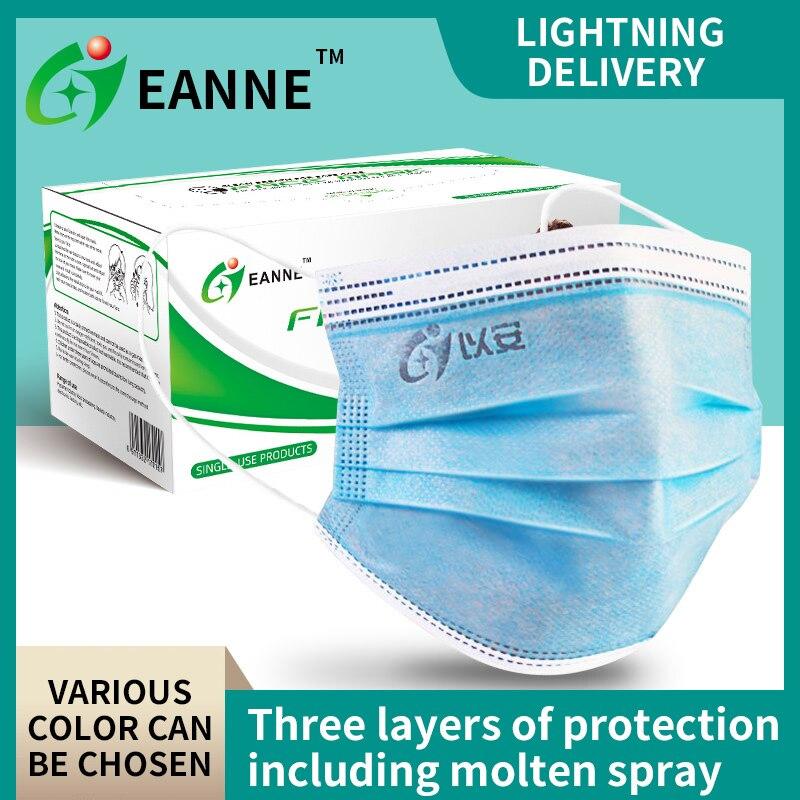 EANNE 10/50 pièces Mouch noir masques Anti gaz poussière pour adulte soins du visage filtres jetables masque de protection avec boucles d'oreilles