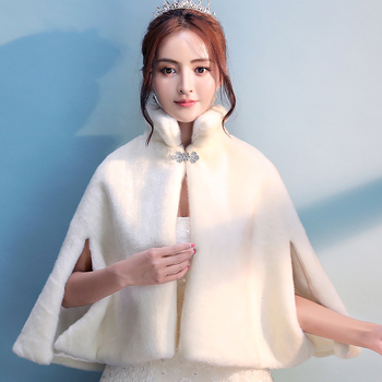 Women Ivory Faux Fur Wedding Bridal Cloak Winter Warm Evening Party Cape Bridesmaid Prom Bolero Jacket Mandarin Collar Coat - discount item  44% OFF Wedding Accessories
