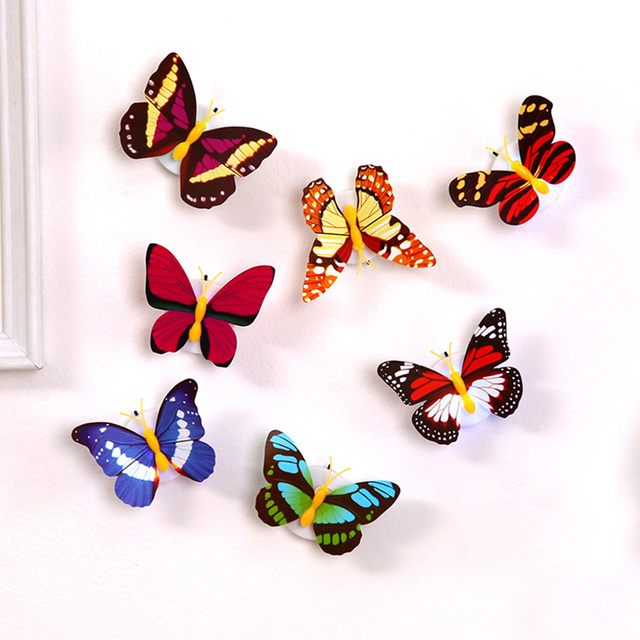 5pcs Self-adhesive butterfly shape decorative night light wall lamp baby bedside lights Indoor lighting home decor 5