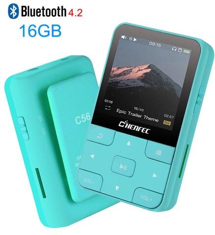 Palyer com Rádio Gravador de Voz Fones de Ouvido para Esporte Mini Clipe Jogador Lossless Som Música fm Vídeo Correndo Mp4 Bluetooth4.2