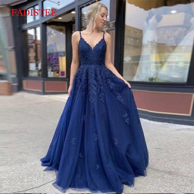 Lace navy blue V-neck vestidos de fiesta de noche prom party Evening Dresses robe de soiree gown frock long soft tulle lace-up 3