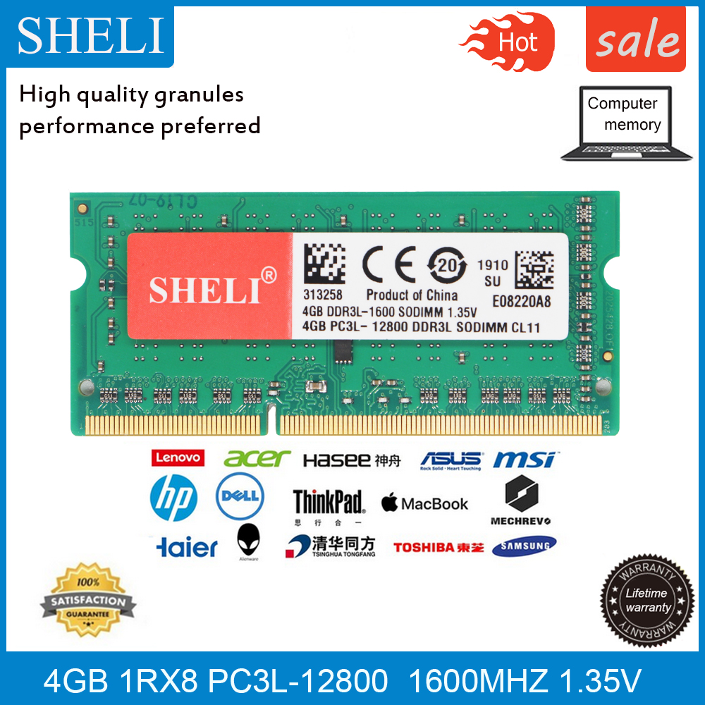 SHELI <font><b>4GB</b></font> 1Rx8 PC3L-12800S DDR3L 1600MHz 204pin 1.35V <font><b>SODIMM</b></font> RAM Laptop Memory image