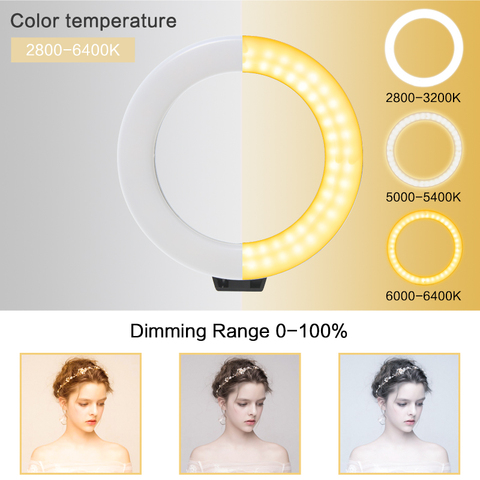 """6"""" Stepless Dimmable LED Selfie Ring Light for Make Up Camera Youtube Video Continuous Lighting Photo Studio Live Beauty Light Lahore"""