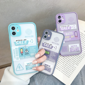 INS Art Letter Label Shockproof Bumper Silicon Phone Case For iPhone XS Max X XR 7 7Plus 8 8Plus SE 2 2020 11 Pro Max Soft Cover image