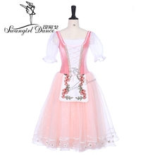 Women Girls La Fille Mal Gardee Professional Ballet Long tutu dress pink romantic ballet costume Adult Stage BT9239