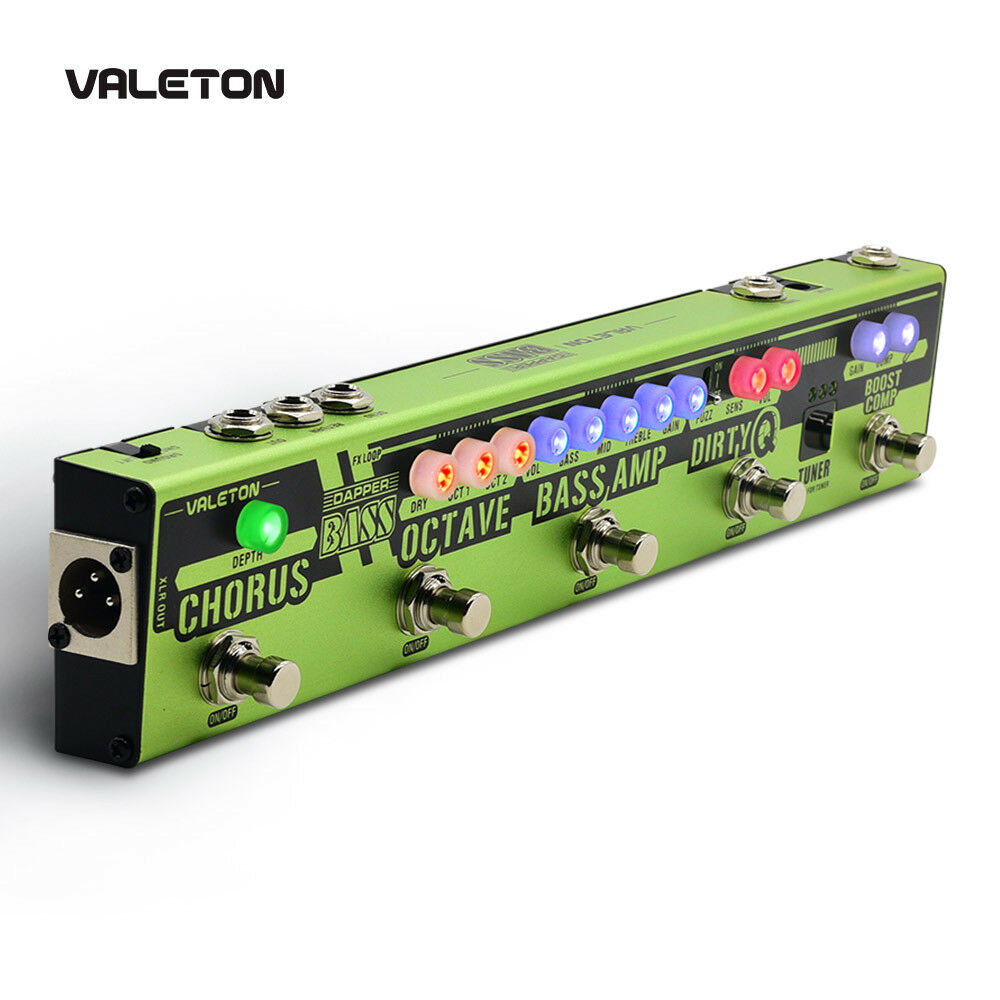 Valeton NEW Dapper BASS Multi Effects Pedal Strip 6 In 1 Multi Effect Bass Tuner,Chorus,Octaver,Dirty Q & Boost Comp,Tuner VES-2