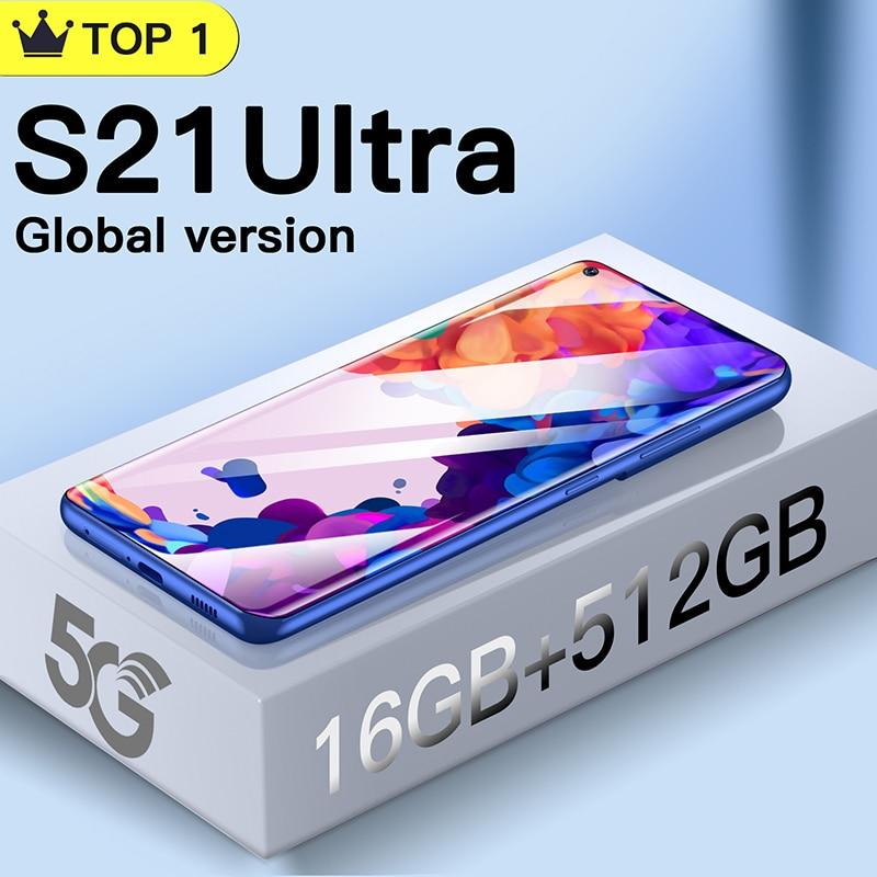 New version S21 Ultra  Android smartphone 16GB+512GB 7.3 HD inch mobile phones Global version cellphones телефон celular 24+48MP