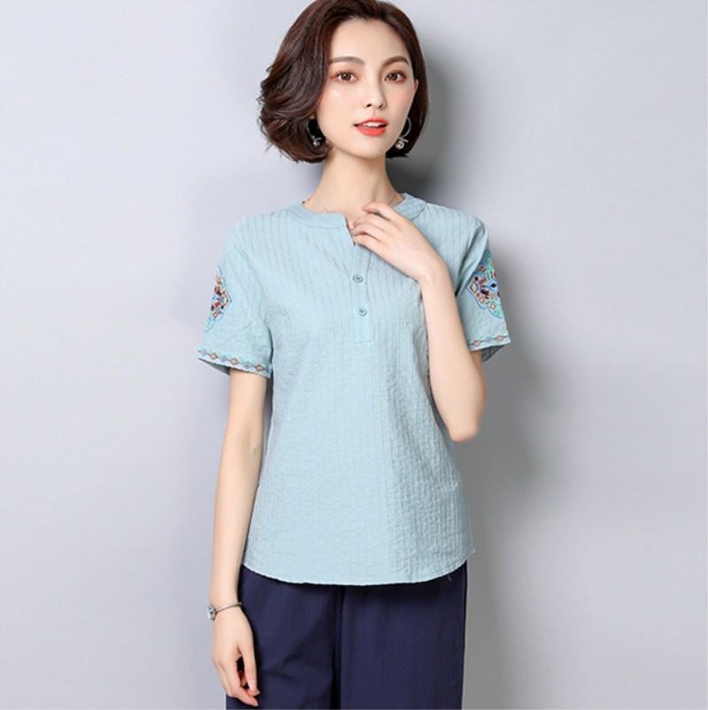 Cotton and linen short-sleeved <font><b>shirt</b></font> summer dress new loose large size <font><b>belly</b></font> show thin <font><b>white</b></font> embroidered image