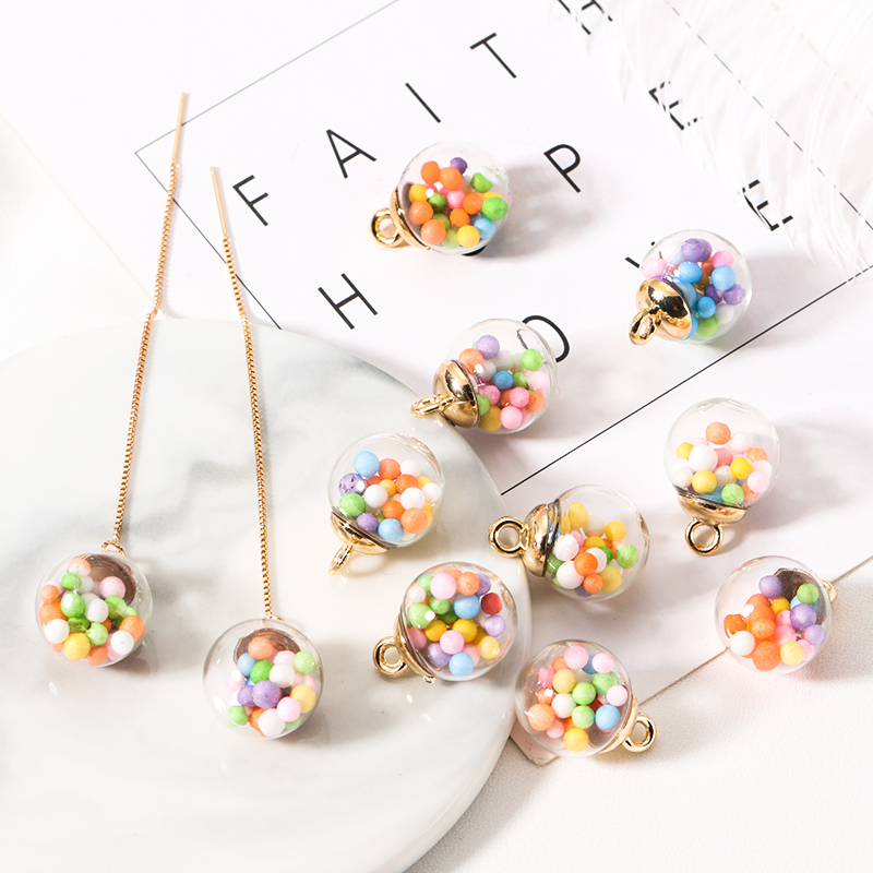 10pcs Colorful Candy Bubble Transparent Glass Ball Charms Acrylic Pendant Finding For Bracelet Jewelry Making DIY Earring Charms