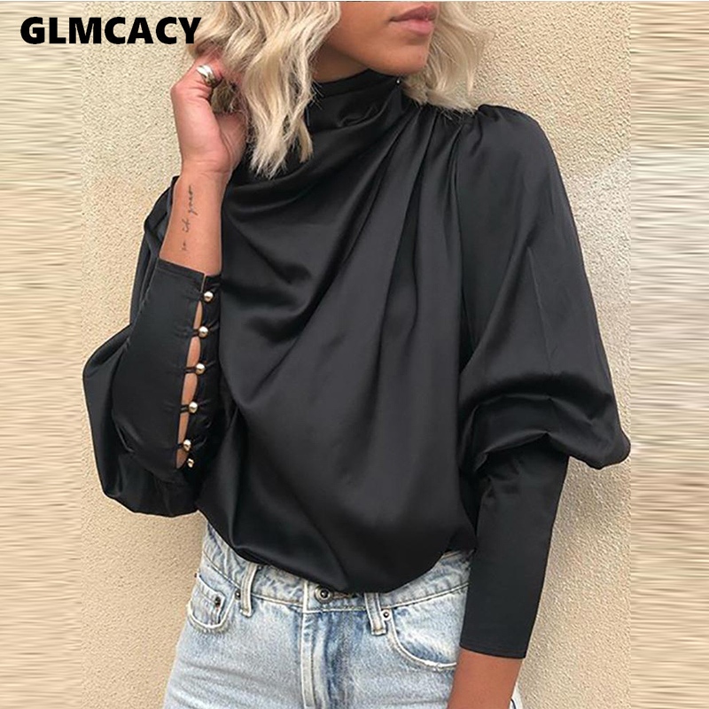 Women Black Lace-Up Cuff Drape Blouse Long Sleeve Solid Blouse Tops Elegant Office Ladies Casual Blouses Workwear