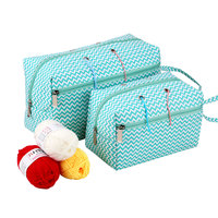 Bolsa de almacenamiento para lanas con agujeros, paquete de ganchos de ganchillo portátil, organizador de agujas, bolsa de tejer rectangular, accesorios de costura, 2 tamaños