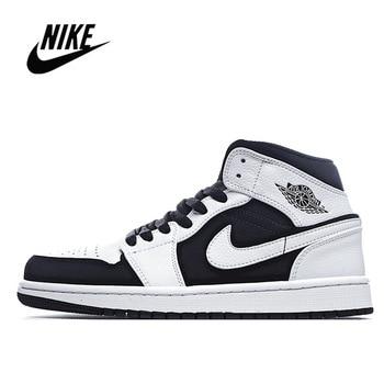 Classic Nike Air Jordan 1 Mid Obsidian Black Basketball Shoes Men's Basketball Sneakers Unisex Women Breathable Air Jordan 1 Mid