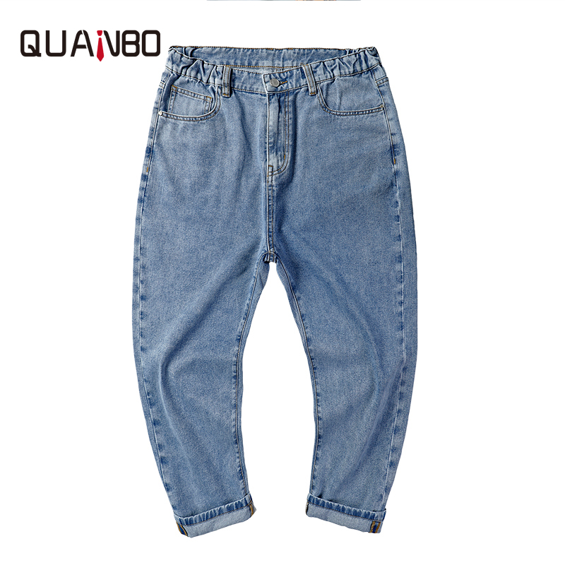 Over Size 42 46 48 men fashion hip hop blue jeans new loose wide leg pants jeans male denim ankle-lenght pants