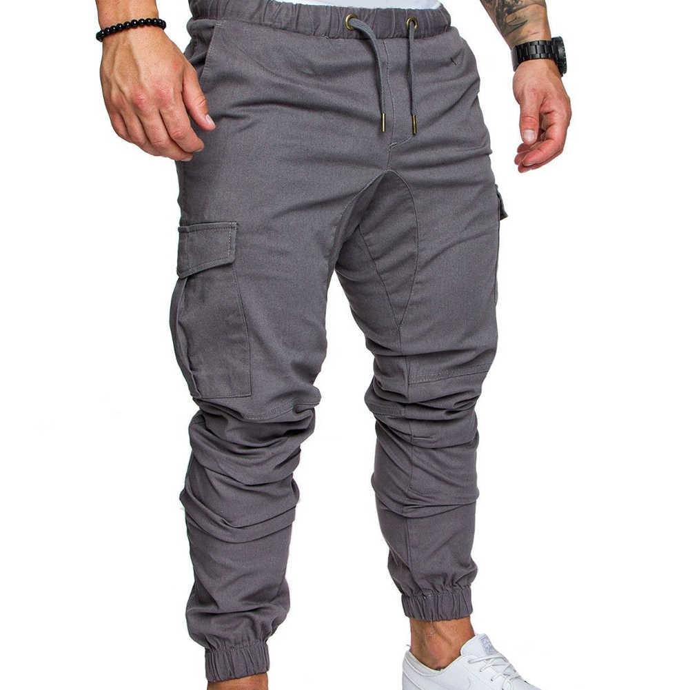 Mens Jogging Pants Military Combat Cargo Sports Slim Straight Legs Long Trousers