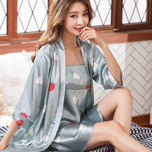 Women Sleepwear Satin 2020 Summer New 2PCS Nighty&Robe Set Nightdress Kimono Bathrobe Gown Silky Bridal Wedding Gift Nightgown
