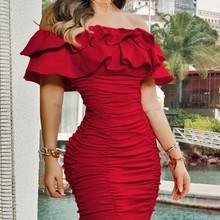 Women Sexy Off Shoulder Ruched Layered Ruffles Bodycon Dress