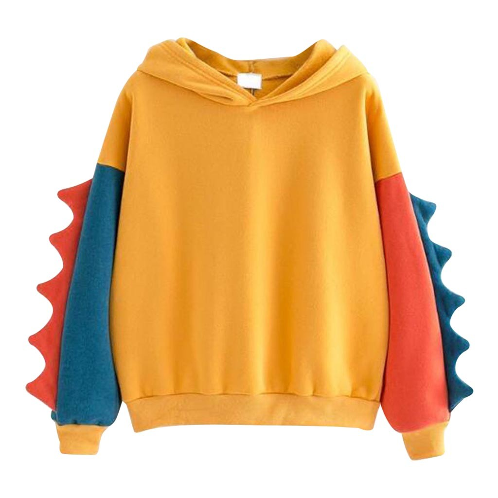 SAGACE  Women's Long Sleeve Stitching Dinosaur Top Fashion Women Hoodies Loose Pullovers Plus  Sweatshirt Cute Yellow Orange