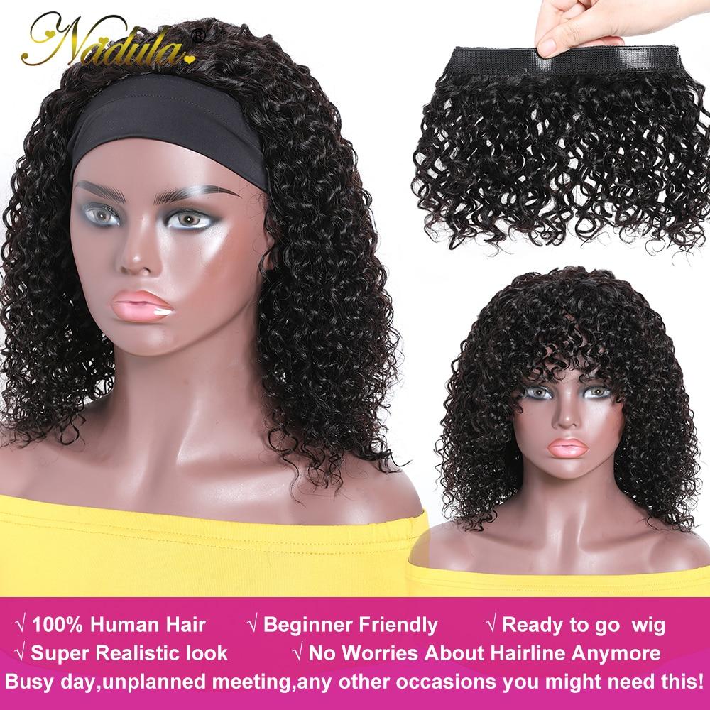 Nadula Hair Headband Wigs with Bangs  Curly  Hedaband Wig Natural Color Headband Wig  With Bangs 5