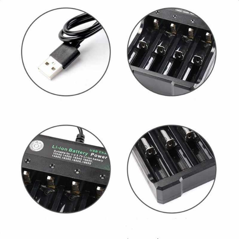 Usb charge 18650 18350 شاحن 2/4 فتحات مصباح يدوي قابل لإعادة الشحن محدد مكبر الصوت 3.7 فولت بطارية ليثيوم شحن مستقل