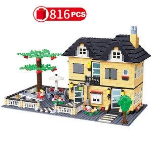 Image 5 - City Architecture Villa Cottage Model Building Blocks Compatible Friends Beach Hut Modular Home House Village Construction Toys
