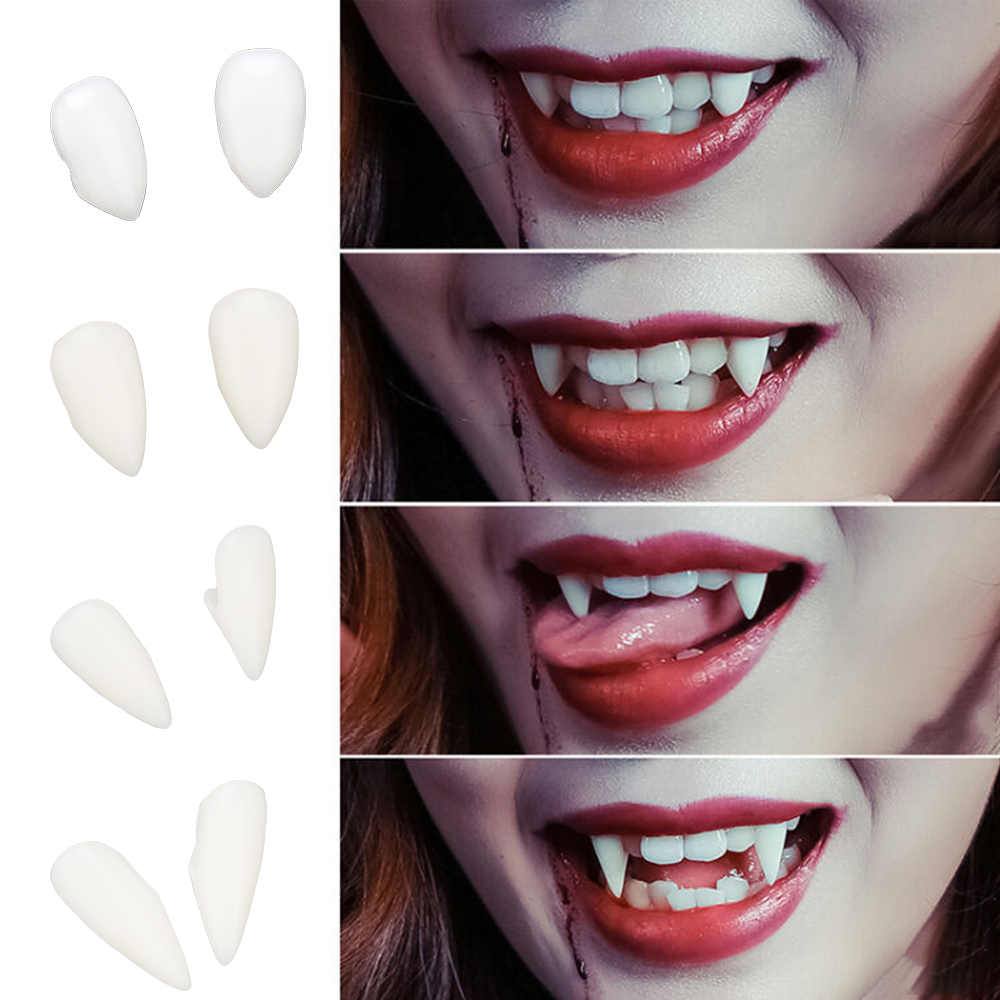 ITIMO 1 Pair Vampire Teeth Fangs Halloween Costume Props Party Environmentally Friendly Resin 4 Size Dentures Props DIY
