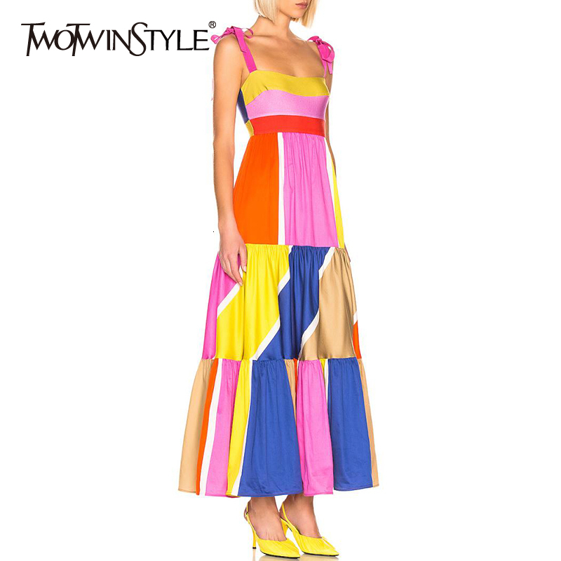 TWOTWINSTYLE Casual Patchwork Hit Color Sleeveless Women's Dresses Square Collar Spaghetti Strap High Waist 2020 Fashion Clothes