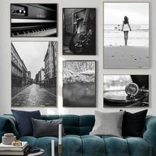Mar Surf calle Piano guitarra música nórdico Vintage carteles e impresiones cuadro sobre lienzo para pared imagen para decoración para sala de estar