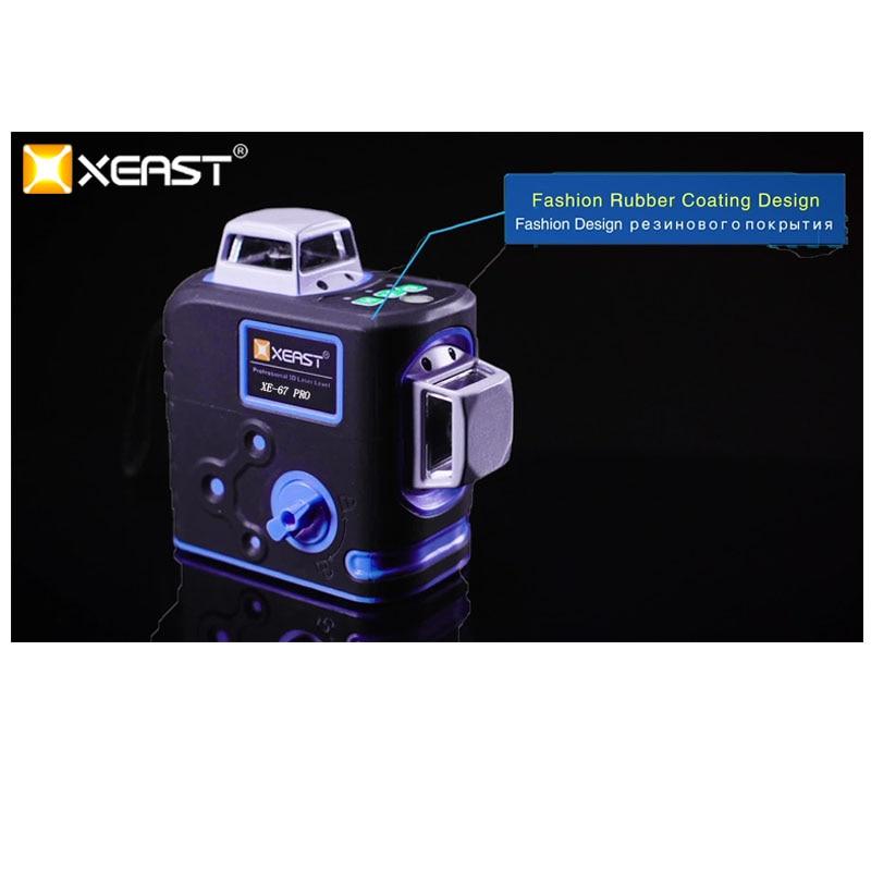 XEAST XE-67G Por 8 linie laser ebene 360 Selbst nivellierung 3D Laser Ebene Vertikale und Horizontale Kreuz Leistungsstarke Grün laser Strahl