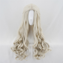 цена на Alice in Wonderland White Queen Peruca Cosplay Wig Blonde Wavy Long Braid Styled Synthetic Hair Anime Costume Wigs + Wig Cap