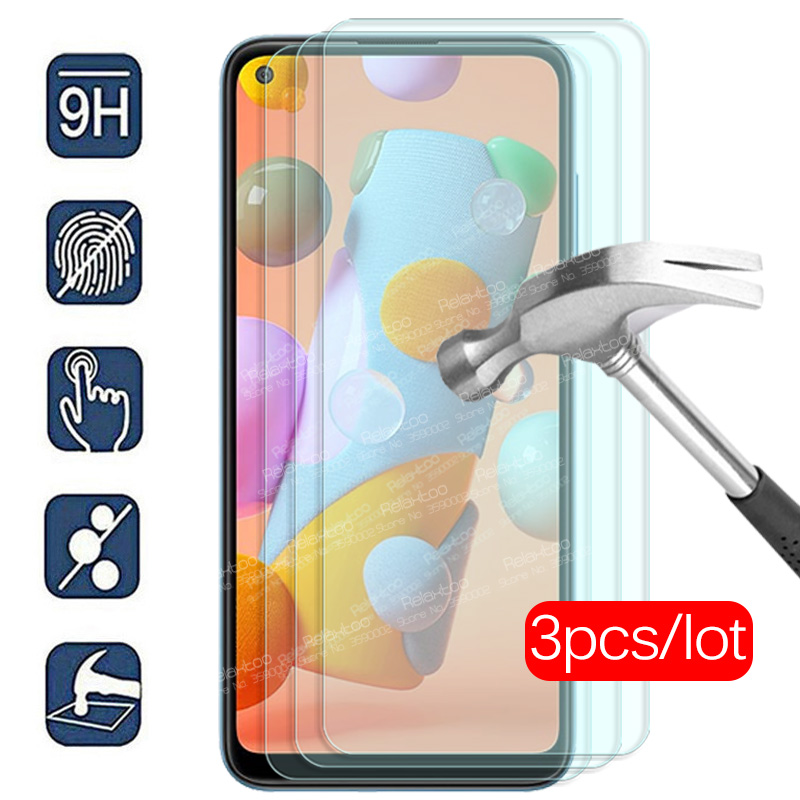 """3pcs protective Glass For samsung a11 Glass screen protector For samsung galaxy a11 2020 a 11 a115F sm-a115F/ds 6.4"""" safety Film"""