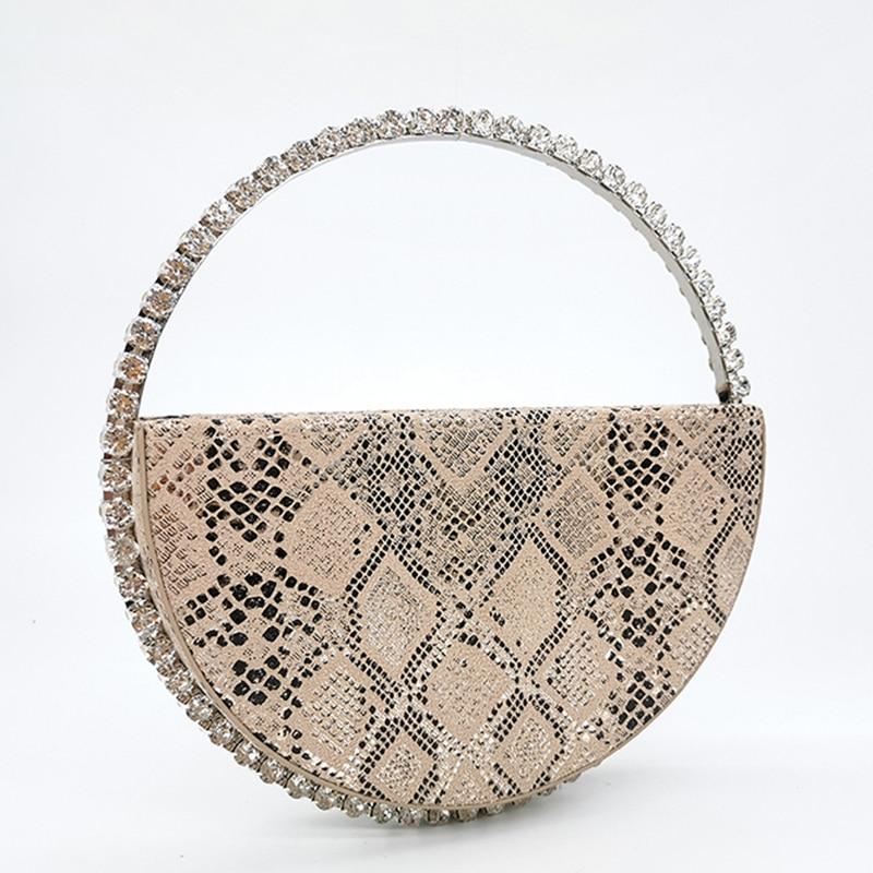 Colour Diamond Circular Evening Bag Women 2020 Famous Designer Rhinestone Round Handle Handbag Ladies Dinner Small Clutch Purses