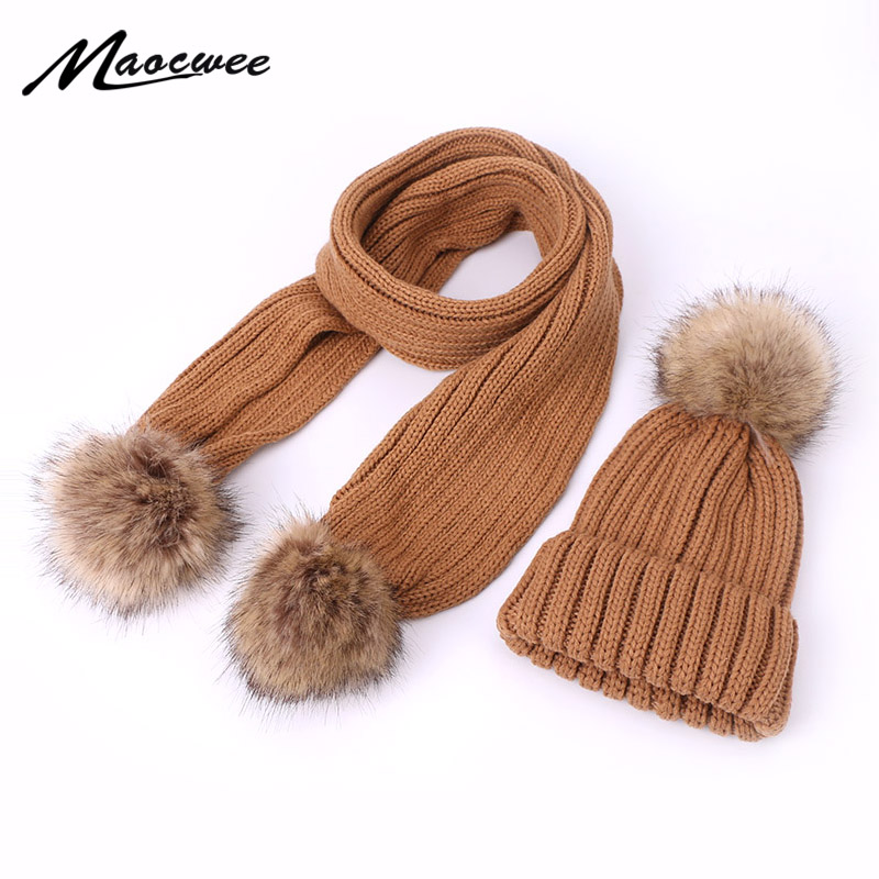 Winter Knitted Pom Pom Hat Scarf Set For Children And Women Crochet Warm Caps Outdoor Thick Skullies Beanie Scarf Two Pieces Set