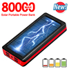 Solar 80000mAh Power Bank Portable Phone Fast Charger External Battery Large-capacity Powerbank Outdoor Travel Charger