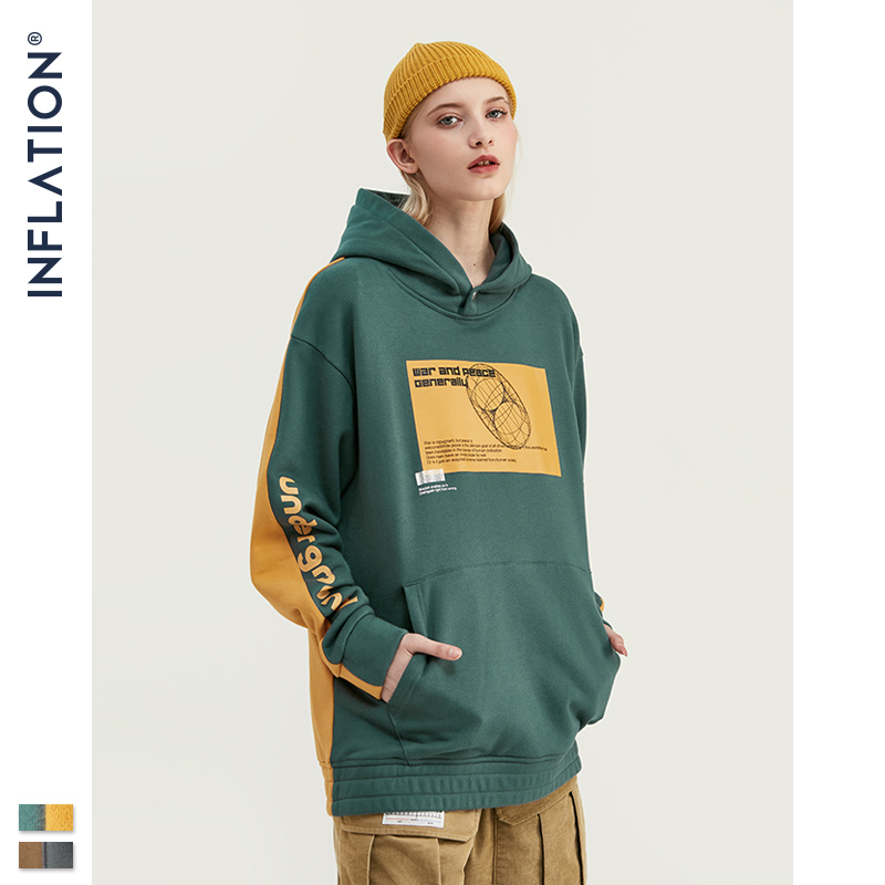 Image 4 - INFLATION 2019 Men Hoodies Dropped Shoulders Hoodie With Printed 