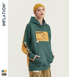 Image 4 - INFLATION 2020 Men Hoodies Dropped Shoulders Hoodie With Printed logo And Contrast Color Men Hoodies Street Wear  9611W