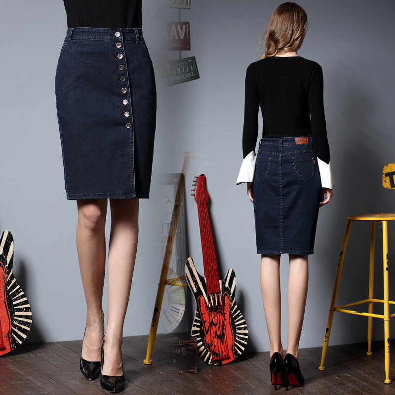 Autumn Women's Jeans Skirts 2019 Sexy Korean Straight Skirt Plus Size Denim Skirt Elastic Black Pencil Skirt Button Midi Skirt