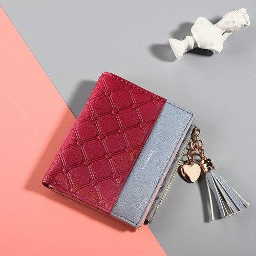 Кожаный кошелек с кисточками для женщин, маленький роскошный бренд, известные мини женские кошельки, кошельки, женские короткие Портмоне на молнии, кошелек Cartera Mujer - Цвет: Red