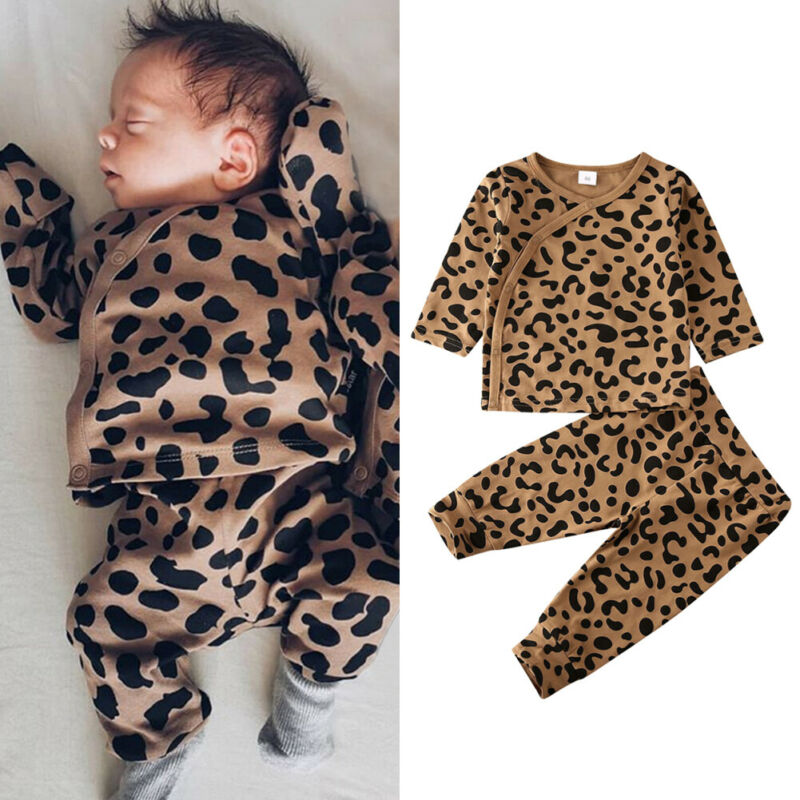 Fashion Baby Girls Leopard Printed Clothes Casual Infant Baby Girl Boy Button Tops Long Pants Sleepwear Outfits New Born Clothes