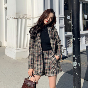 JXMYY autumn winter high quality women blazer shorts suit tweed 2 piece set double breasted jacket plaid woolen short set