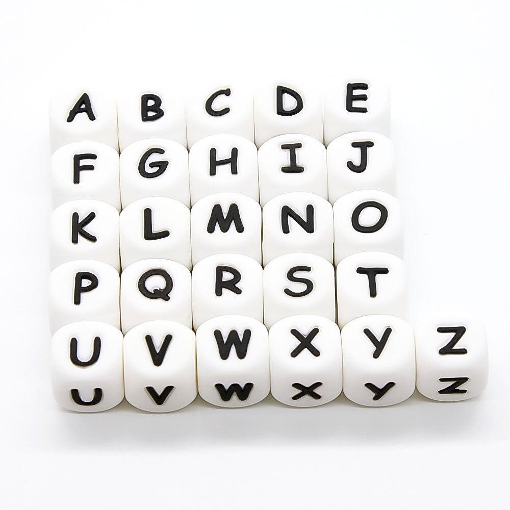 Mignon-idée 20 pièces lettre Silicone perles 12mm bébé dentition sensoriel perles mâcher Alphabet perle pour bricolage fait main produits de dentition
