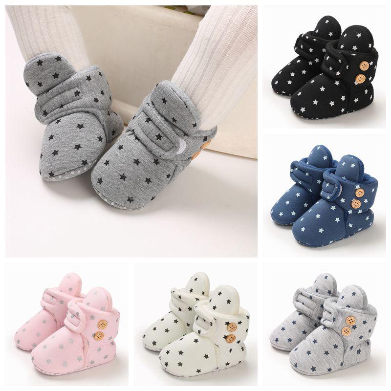 Зимние детские ботинки, обувь для маленьких девочек и мальчиков, обувь для малышей, новорожденных, с милым принтом звезд, очень теплые ботин...