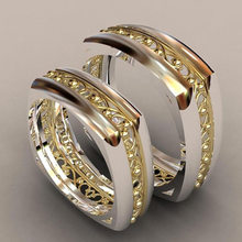 Copper Two-tone Gold-plated Ring Fashion Design European and American Couples Engagement Ring Jewelry(China)