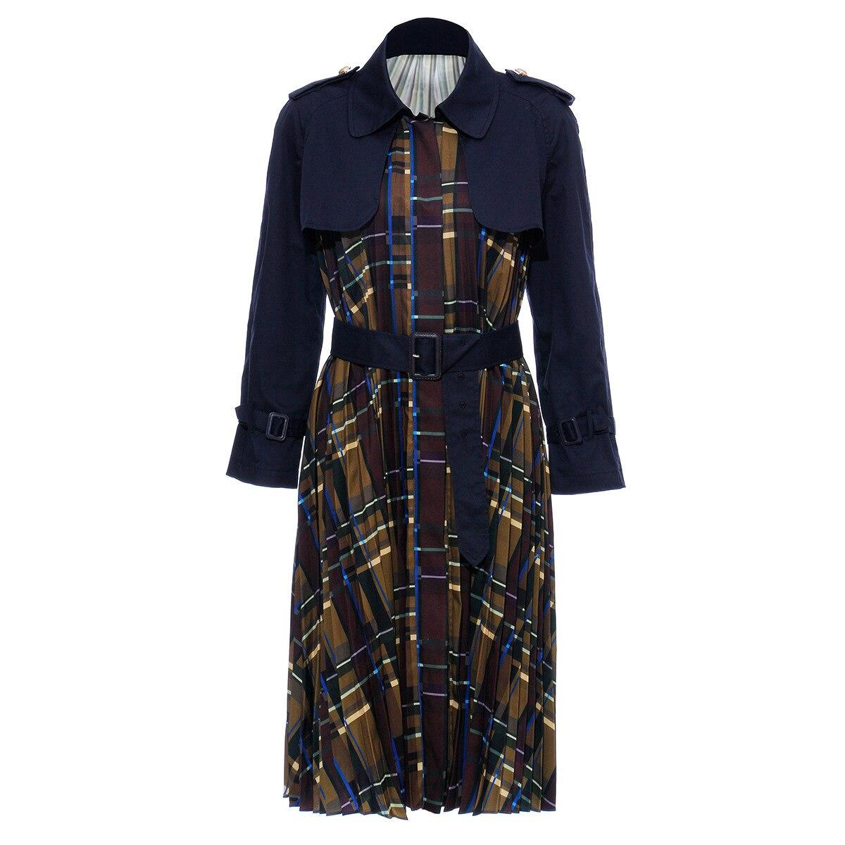 [EAM] Women Belt Pleated Hit Color Trench New Lapel Long Sleeve Loose Fit Windbreaker Fashion Tide Autumn Winter 19 1B096 5