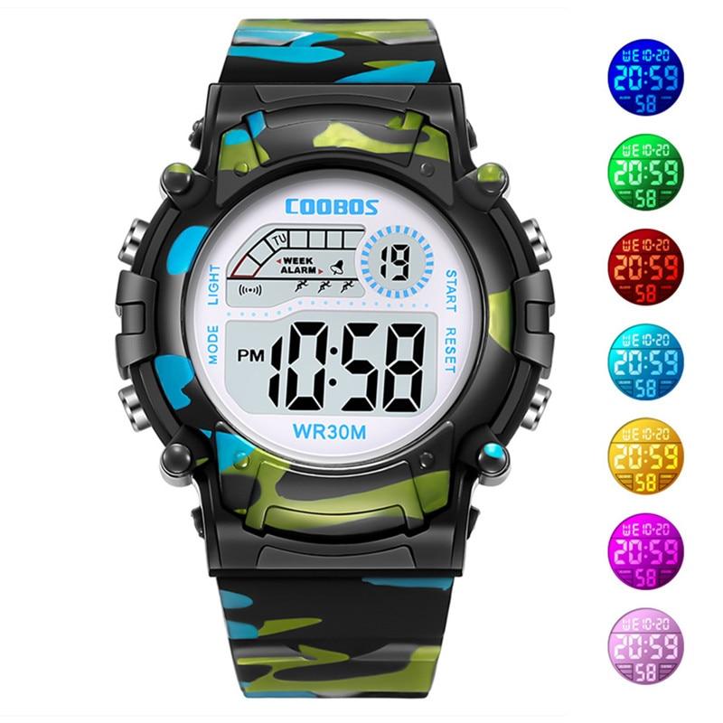 Camouflage Watches Children Watch Led Digital Wristwatch Kids Boys Girs Students Clock Waterproof Sport Gift Relojes Army Green