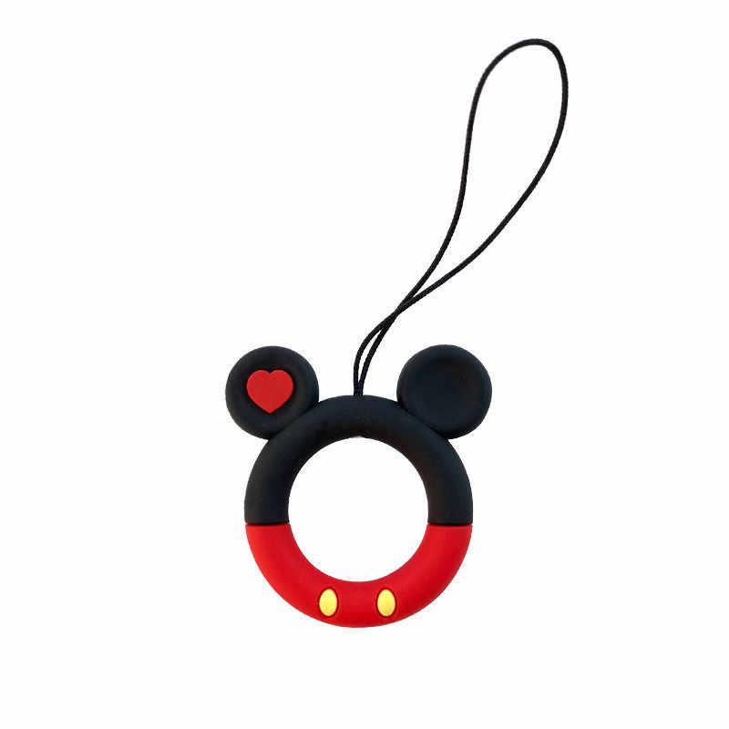 Mickey Disney różowa pantera ulica sezamkowa telefon komórkowy brelok małe kółko do kluczy kreskówka śliczny wisiorek silikonowy breloczek