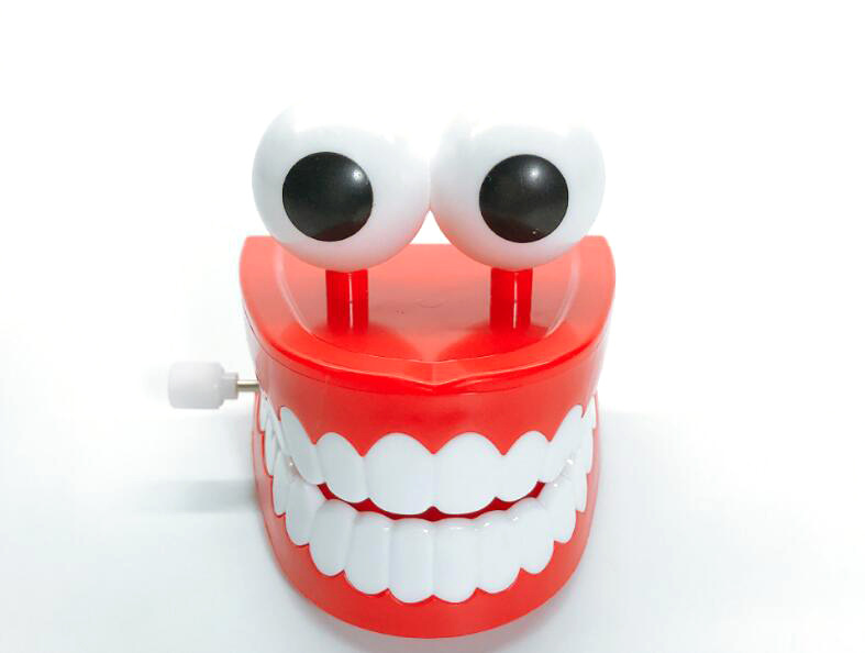 Strange New Toy Spring-Winding With Eyes Jumping Teeth Ghost Teeth Cute Playful Small Toy Teeth