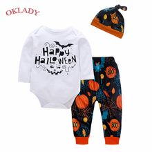 OKLADY 2019 Halloween Kids Clothes Bebe Set Girls Toddler Clothing Set Letter Print Romper Pumpkin Pants Trousers Hat 6M 12M 18M цена