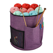 Plus Shoulder Strap Purple Wool Crochet Storage Tube Bag Knitted Wool Storage Tote Bag Knitted Accessories(China)