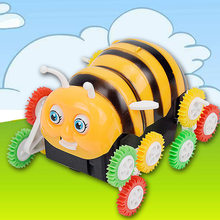 Hot Selling Electric Bees Dumpers Universal Automatic Flipping Caterpillar Stunt E-Bike Creative Toy(China)